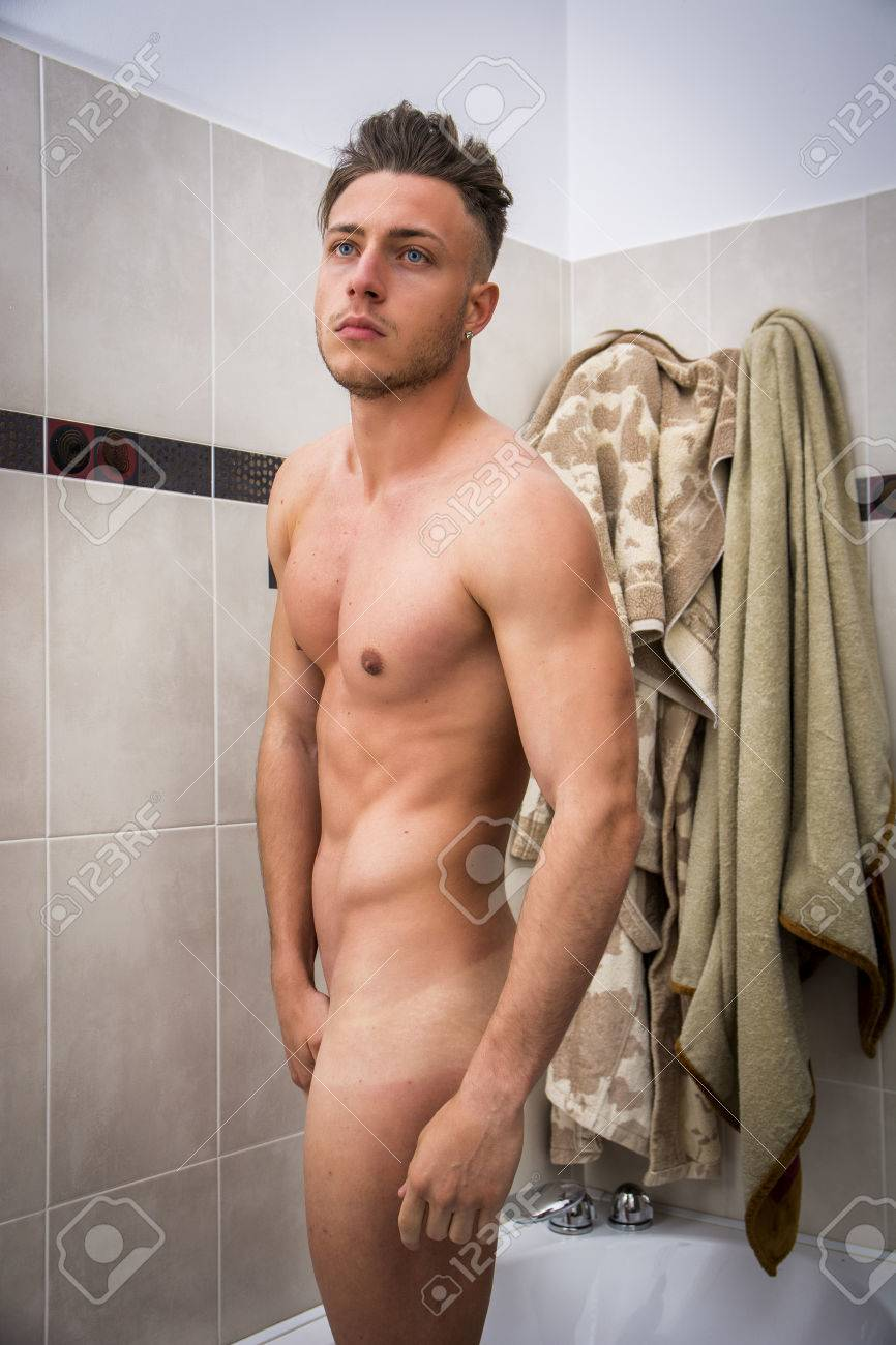 Naked male adult buttocks shower