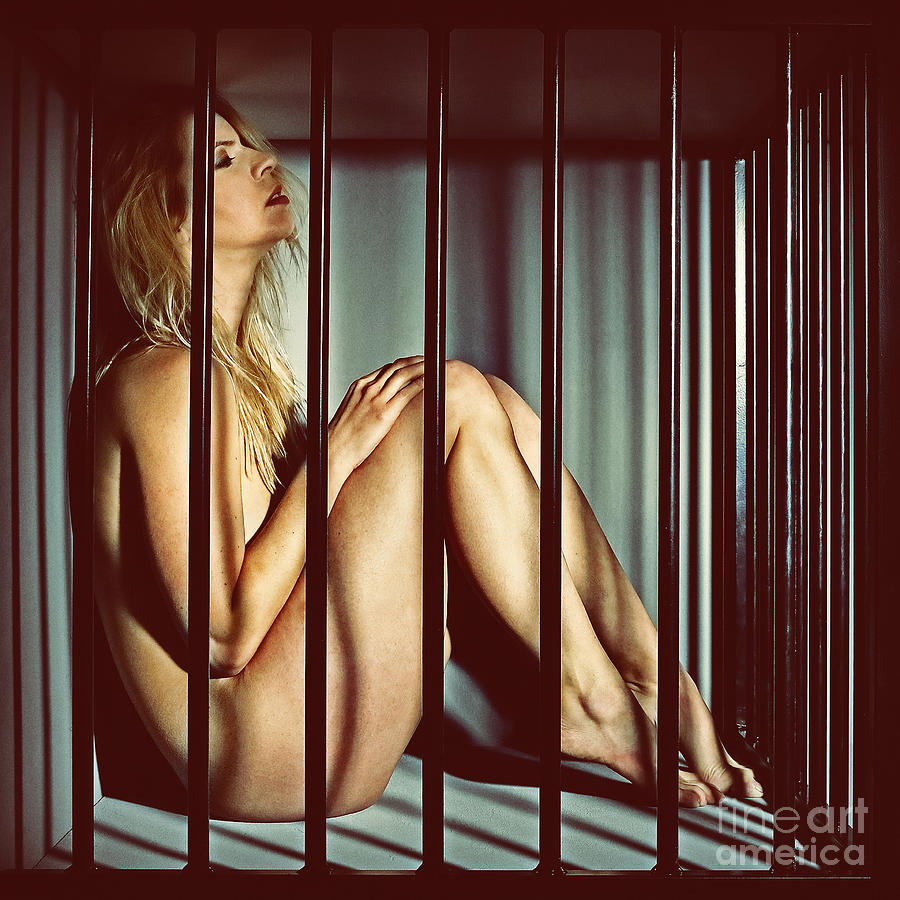 Sexy nude girl in cage